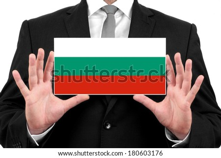 Businessman holding a business card with Bulgaria Flag - stock photo