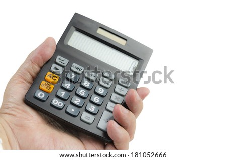Businessman holding a calculator, on a white background