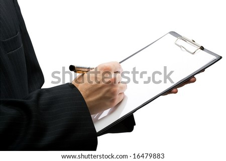Businessman holding a clipboard and writing in it, isolated - stock photo