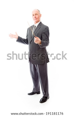 Businessman holding a conductor's baton