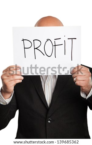 Businessman holding a handwritten sign - stock photo