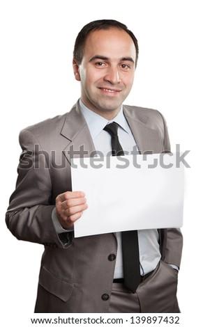 Businessman holding a handwritten sign - stock photo