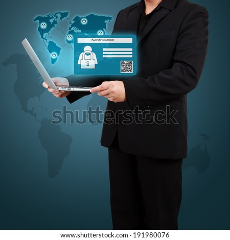 Businessman holding a laptop with Authentication. Concept of security on business. - stock photo