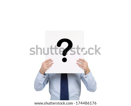businessman holding a poster 'question mark' - stock photo