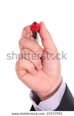 Businessman holding a red pen isolated on a white background with space for text - stock photo