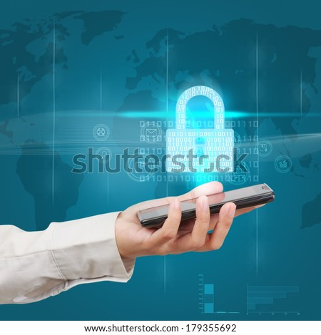 Businessman holding a smartphone and showing concept of online business security. - stock photo