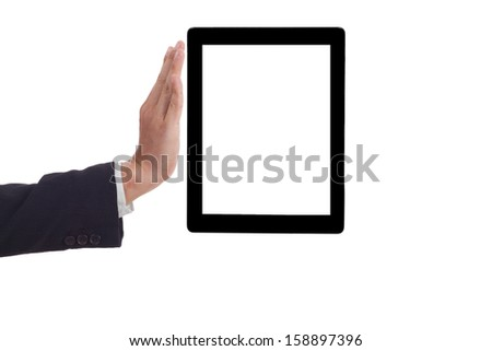 Businessman holding a tablet.