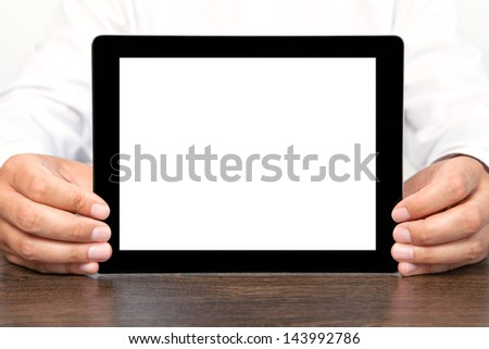 businessman holding a tablet computer with isolated screen - stock photo