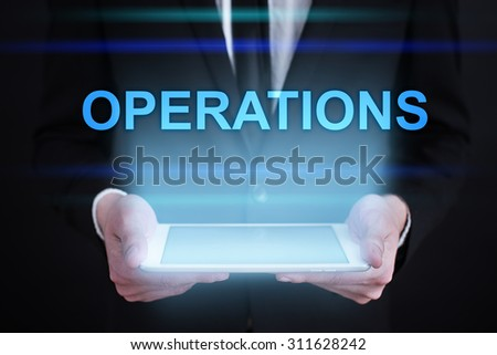 "Businessman holding a tablet pc with ""Operations"" text on virtual screen. Internet concept. Business concept."