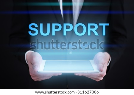 "Businessman holding a tablet pc with ""Support"" text on virtual screen. Internet concept. Business concept."