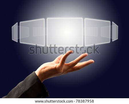 Businessman holding  a touch screen button