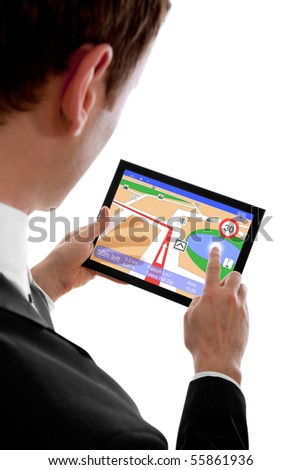 businessman holding a touchpad pc, using the navigation programme, isolated on white
