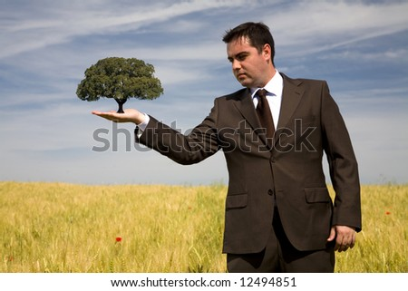 businessman holding a tree in the hand - environment concept - focus on the tree - stock photo