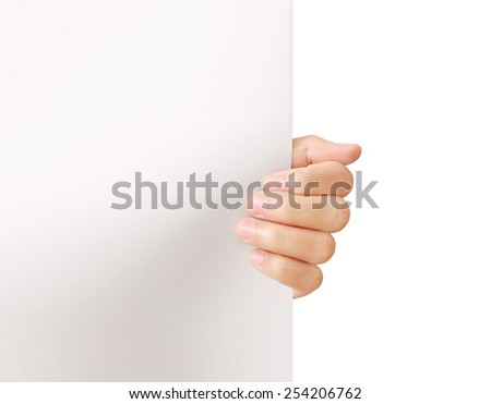 Businessman holding a white board - stock photo