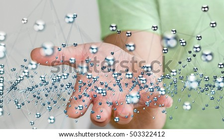 Businessman holding abstract connection interface with lines and dots 3D rendering