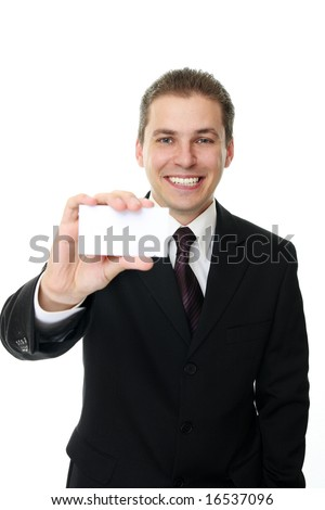Businessman holding blank card - stock photo
