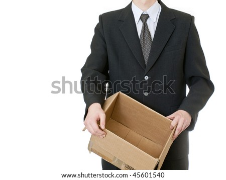 BUSINESSMAN HOLDING BOX on white background - stock photo