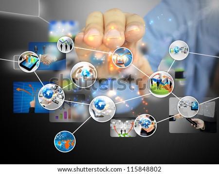 businessman holding business diagram - stock photo
