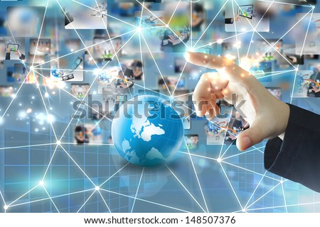businessman holding business network