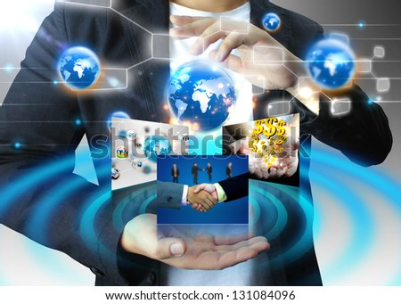 businessman holding business world, connected