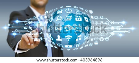 Businessman holding digital web earth with modern icons