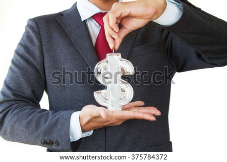 Businessman holding dollar symbol and coin, saving and financial concept. isolated white background