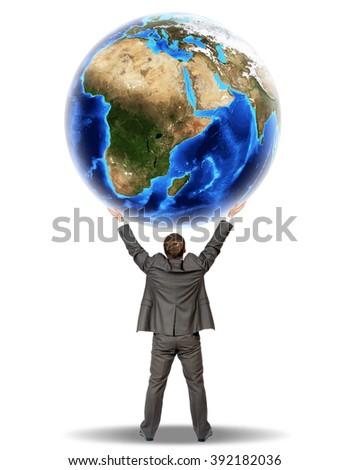 Businessman holding earth globe
