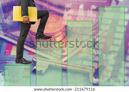 businessman holding files climbing on bar graph to success money concept background - stock photo