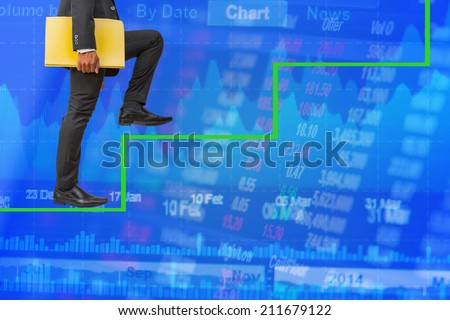 businessman holding files climbing on stair money concept background - stock photo