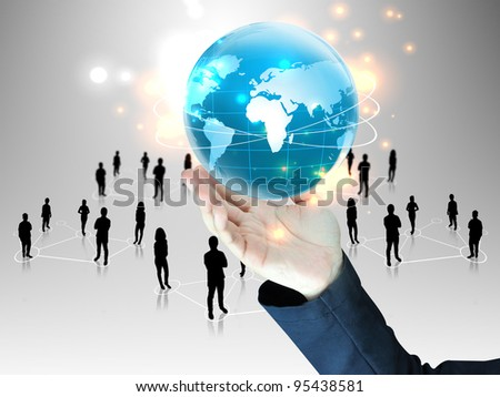 businessman holding  global with people team