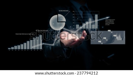 Businessman holding graph, business concept - stock photo