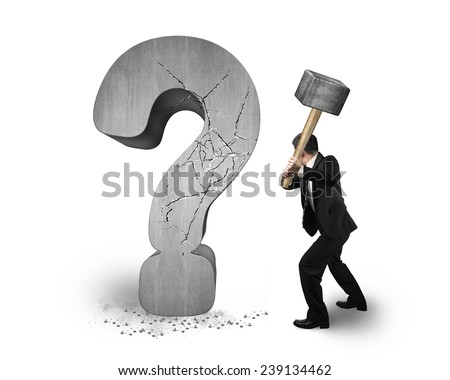 businessman holding hammer cracked question mark isolated on white background - stock photo
