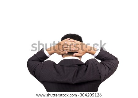 businessman holding hand on head. felling tiredness, thinking, frustrated,having stress.   - stock photo