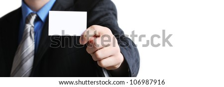 Businessman holding his business card in hand