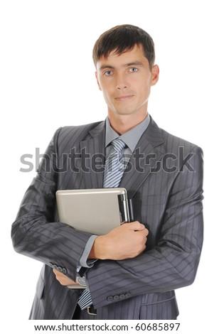 Businessman holding laptop. Isolated on white background - stock photo