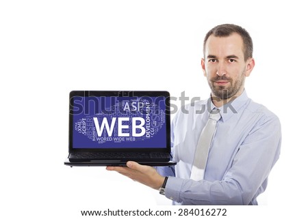 Businessman holding Laptop with Web Development concept - with isolated background - stock photo