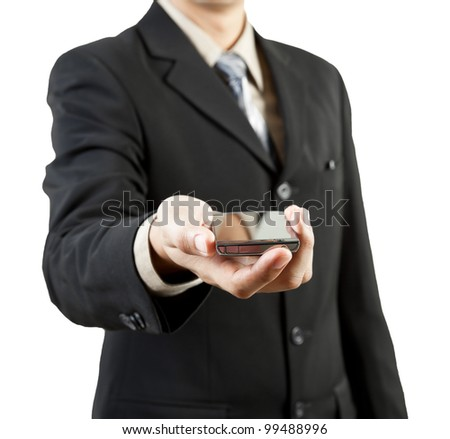 Businessman holding mobile phone - stock photo