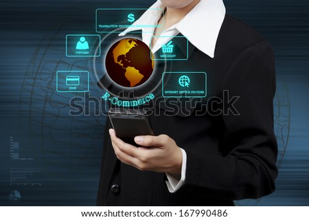 businessman holding mobile phone and showing circular diagram of structure of e-commerce organization on virtual screen - stock photo