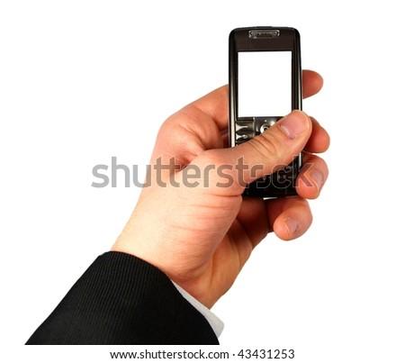 Businessman holding mobile phone on white background - stock photo