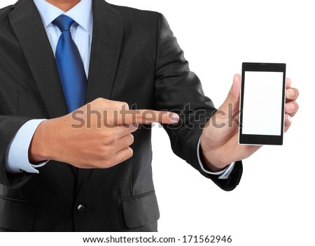 businessman holding mobile smart phone with blank screen. Isolated on white. - stock photo
