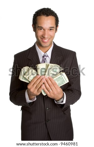 Businessman Holding Money - stock photo