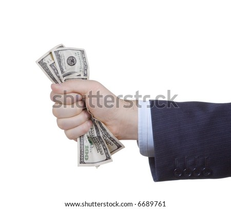 Businessman holding money against white background - stock photo