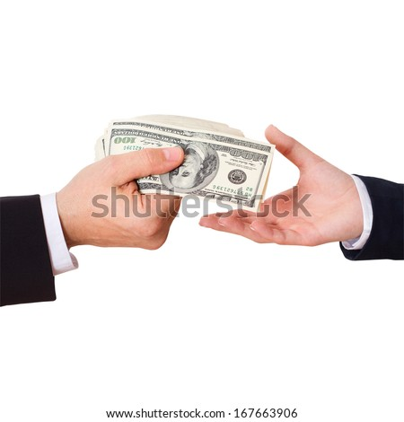 Businessman holding Money Cash Dollars in the Hands of passing them to the client. Concept of Finance Success. Isolated, space for text