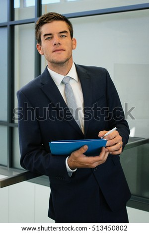 Businessman holding notes