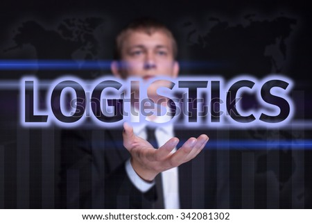 "Businessman holding on the right hand a glowing text ""Logistics"". Business concept. Internet concept"