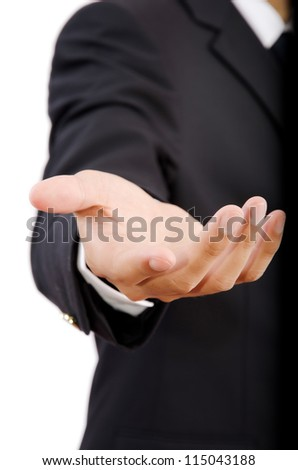 Businessman Holding on the whiteboard, Selective focus on the hand.