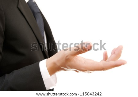 Businessman Holding on the whiteboard, Selective focus on the hand. - stock photo