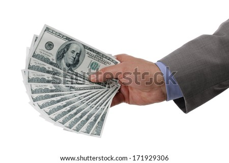 Businessman holding one hundred dollar bills concept for paying, business wealth and banking