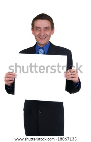 businessman holding out blank sign