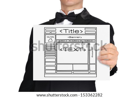 businessman holding paper with template web site